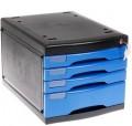 美都METRO3474带锁四层文件柜SB/BK蓝色/黑色