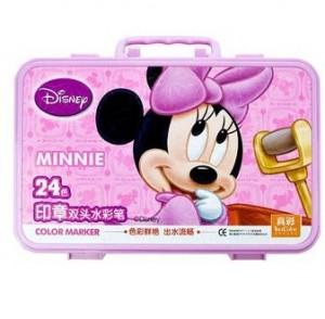 真彩(TrueColor) M-108-24 米奇手提塑盒印章水彩笔 24色 小盒装